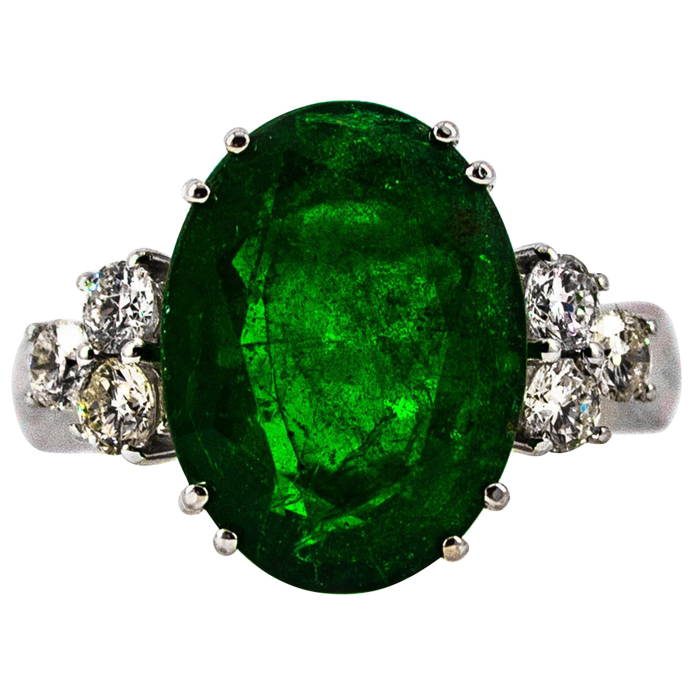 6.42 Carat Emerald 0.60 Carat White Diamond White Gold Cocktail Ring