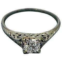 Art Deco .65 Carat G Color VS Old European Cut Diamond Wedding Engagement Ring