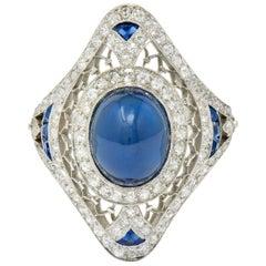 Art Deco 6.60 Carat Blue Sapphire Diamond Platinum Trellis Dinner Ring