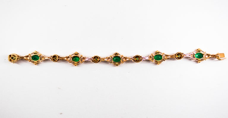 This Bracelet is made of 14K Yellow Gold. This Bracelet has 0.60 Carats of White Modern Round Cut Diamonds. This Bracelet has 6.60 Carats of Zambia Natural No Treated Emeralds. This Bracelet is available also with Opals or Tanzanite. We're a