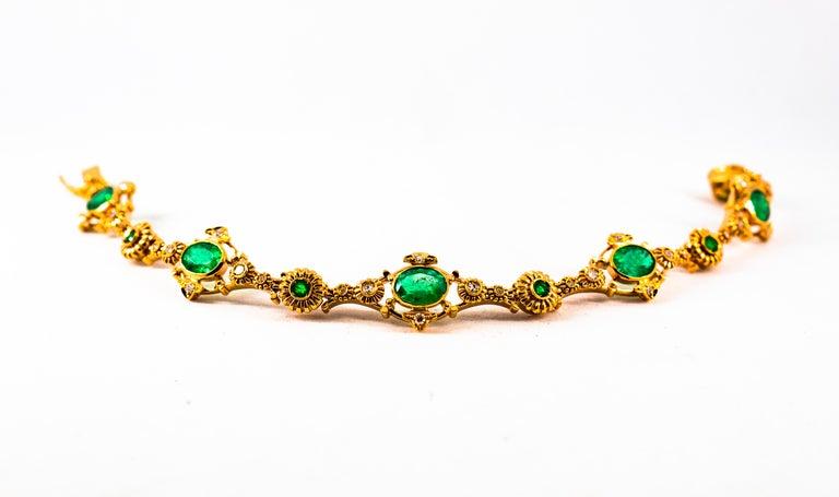 Women's or Men's Art Deco Style 6.60 Carat Emerald 0.60 Carat White Diamond Yellow Gold Bracelet For Sale