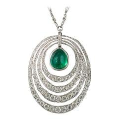 Art Deco 6.61 Carat Emerald and Diamond Pendant Necklace