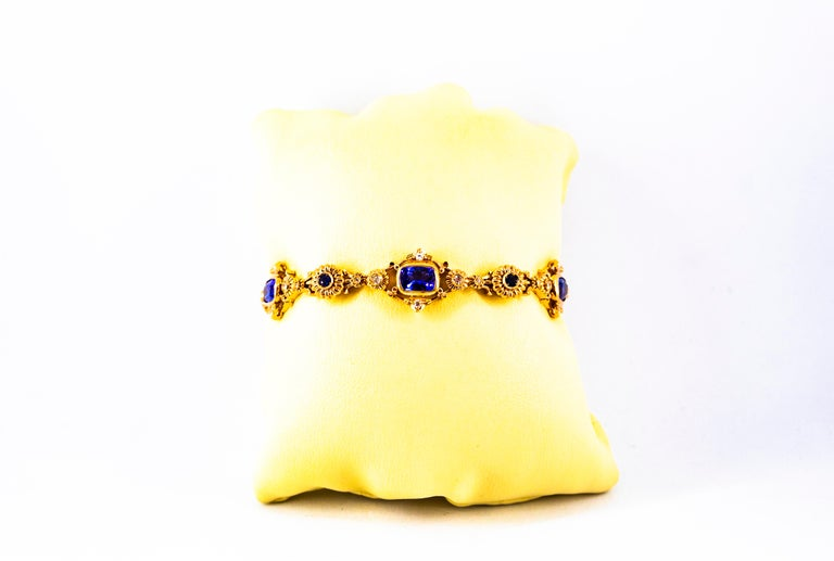 Art Deco Style 6.90 Carat White Diamond Blue Sapphire Tanzanite Yellow Bracelet For Sale 5