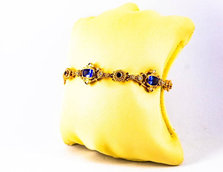 Art Deco Style 6.90 Carat White Diamond Blue Sapphire Tanzanite Yellow Bracelet For Sale 6