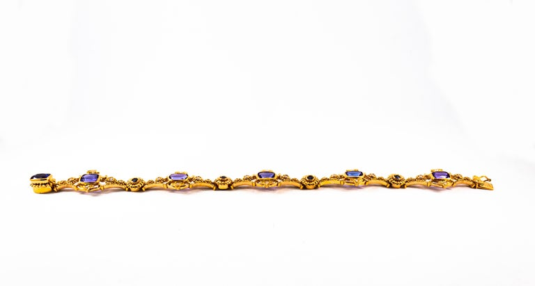 Round Cut Art Deco Style 6.90 Carat White Diamond Blue Sapphire Tanzanite Yellow Bracelet For Sale