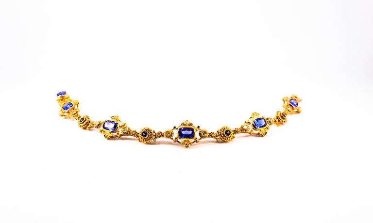 Art Deco Style 6.90 Carat White Diamond Blue Sapphire Tanzanite Yellow Bracelet In New Condition For Sale In Naples, IT