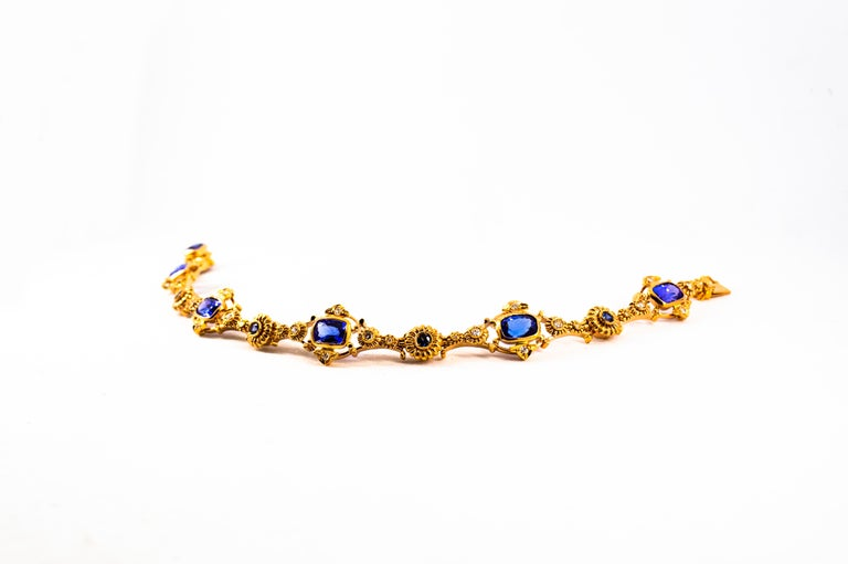 Women's or Men's Art Deco Style 6.90 Carat White Diamond Blue Sapphire Tanzanite Yellow Bracelet For Sale