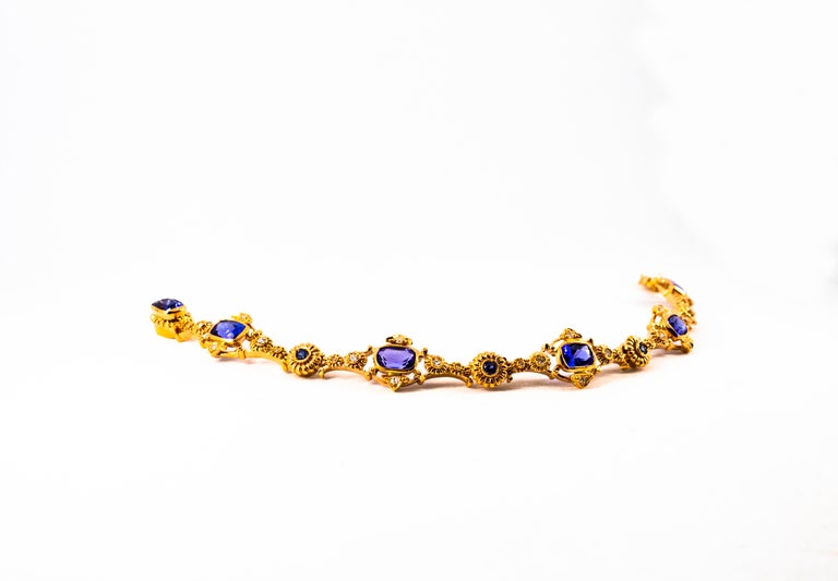Art Deco Style 6.90 Carat White Diamond Blue Sapphire Tanzanite Yellow Bracelet For Sale 1