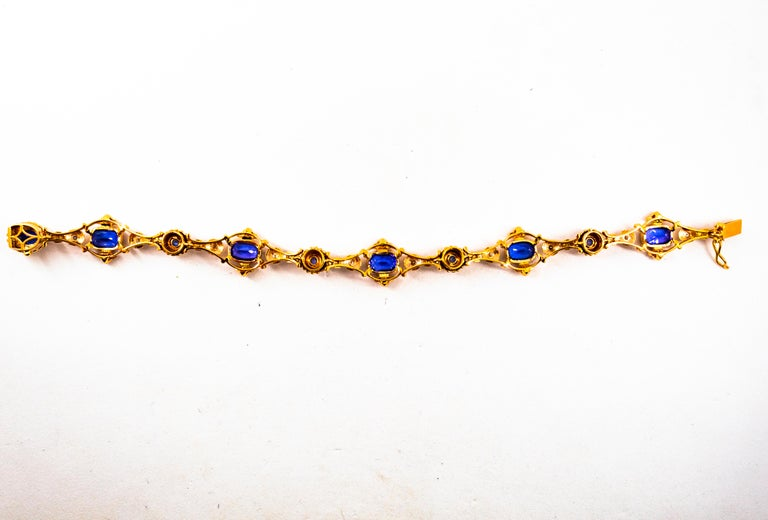 Art Deco Style 6.90 Carat White Diamond Blue Sapphire Tanzanite Yellow Bracelet For Sale 4