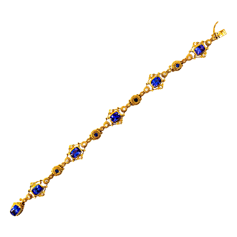 Art Deco Style 6.90 Carat White Diamond Blue Sapphire Tanzanite Yellow Bracelet