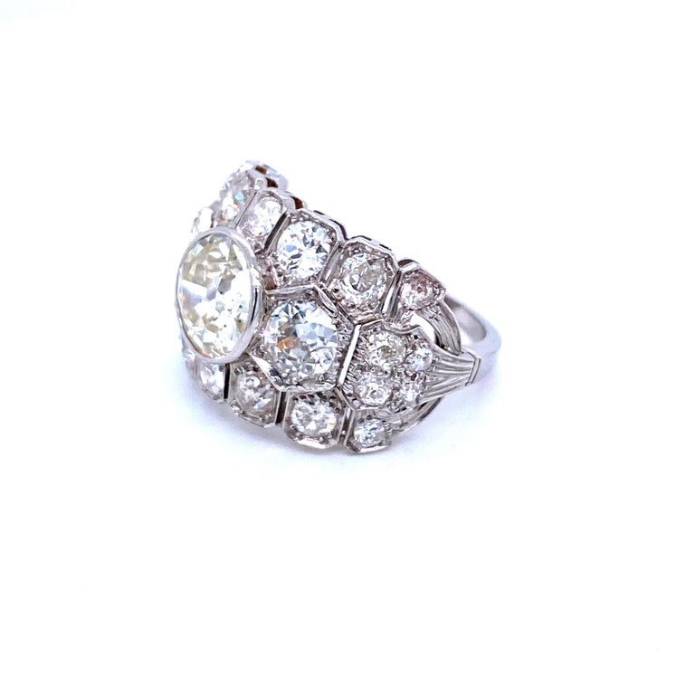 Art Deco 7 Carat Diamond Plaque Ring In Excellent Condition In Napoli, Italy