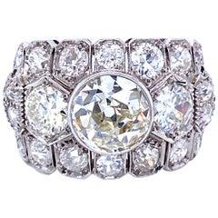 Art Deco 7 Carat Diamond Plaque Ring
