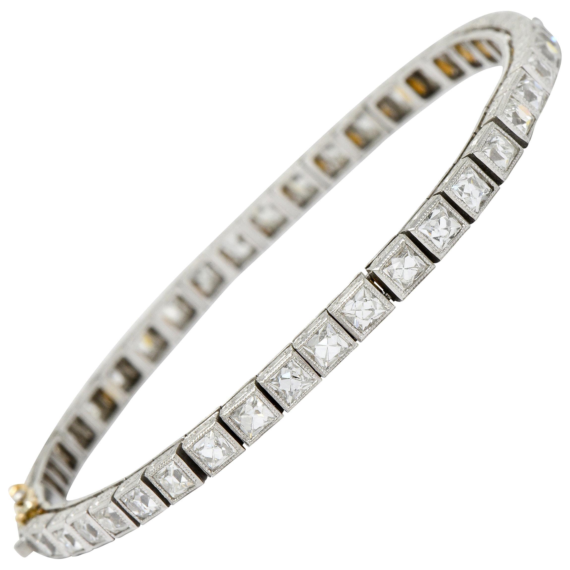 Art Deco 7.00 Carat French Cut Diamond Platinum Line Bracelet, circa 1930