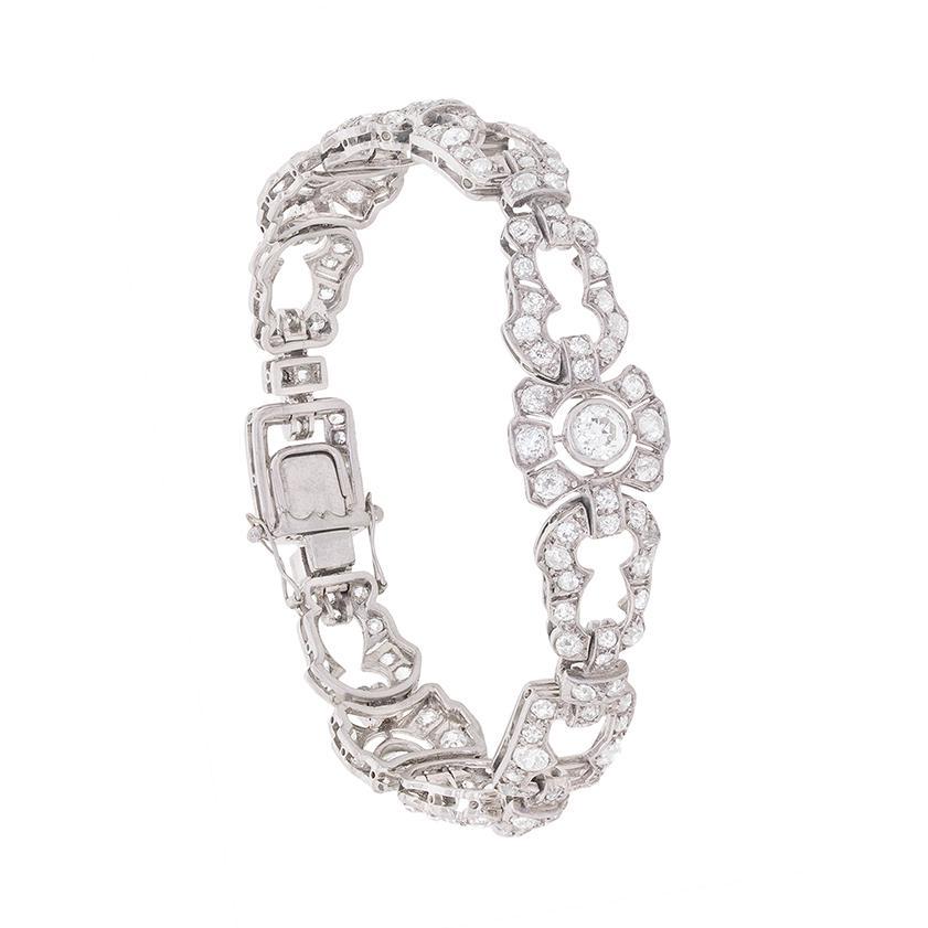Art Deco 7.00 Carat Old Cut Diamond Bracelet, c.1930s