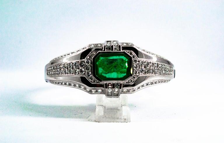 Art Deco Style 7.10 Carat Emerald 7.40 Carat White Diamond Gold Clamper Bracelet For Sale 8
