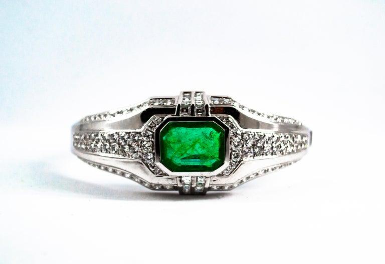 Princess Cut Art Deco Style 7.10 Carat Emerald 7.40 Carat White Diamond Gold Clamper Bracelet For Sale