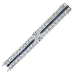 Art Deco 7.30 Carat Diamond and Sapphire Platinum Bracelet