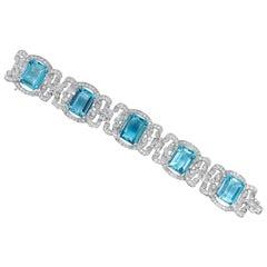 Art Deco 75.91 Carat Aquamarine and 10.00 Carat Diamond Platinum Link Bracelet