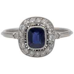 Art Deco .77 Ct Natural No Heat Ceylon Sapphire .55 Carat Diamond Platinum Ring