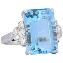 Art Deco 7.75 Carat Aquamarine Diamond Platinum Cocktail Ring