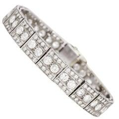 Art Deco 8 Carat Diamond Millegrain Bracelet