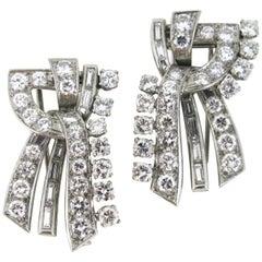 Art Deco 8 Carat Diamonds Double Clip by Paillette, Platinum, France, circa 1930