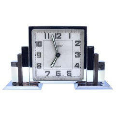 Art Deco 8 Day Chrome Cased Skyscraper Clock, c1930