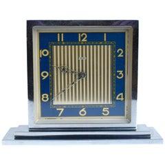 Art Deco 8 Day Chrome Desk Clock, circa 1930