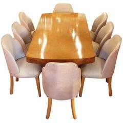 Art Deco 8 Seat Dining Suite Figured Birds-Eye Maple and Alcantara Suede