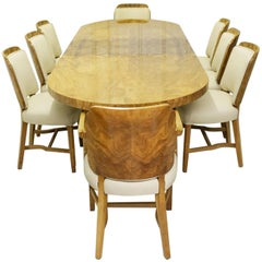 Art Deco 8-Seat Extendable Dining Suite Attributed to Heal's of London