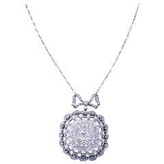 Art Deco 8.00 Carat Old European Diamonds Bow Tie Round Pendant Necklace