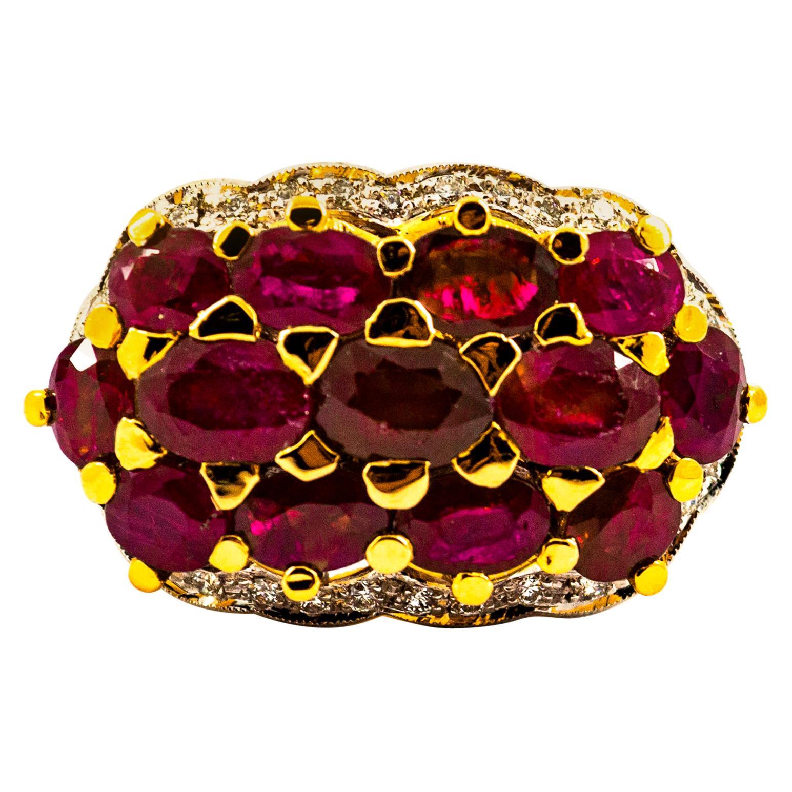 Art Deco Style Ruby White Diamond Yellow Gold Cocktail Ring
