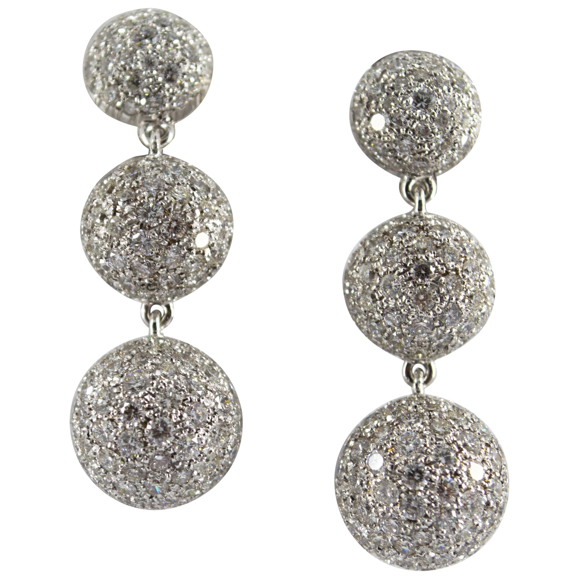 Art Deco Style 8.35 Carat Modern Cut Diamond White Gold Drop Clip-On Earrings