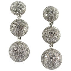 Art Deco Style 8.35 Carat Modern Cut Diamond White Gold Drop Clip-On Earrings