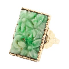 Art Deco 835 Gilded Silver Flower Carved Green Jade Bat Panel Ring