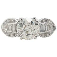 Art Deco .84 Old European Cut Diamond Single and Baguette Platinum Ring