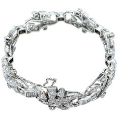 Art Deco Style 8.68 Carat Round and Baguette Diamond Platinum Bracelet