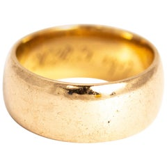 Art Deco 9 Carat Extra Wide Gold Band With Inscription