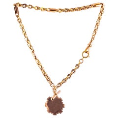 Art Deco 9 Carat Gold Albert Chain with Medallion