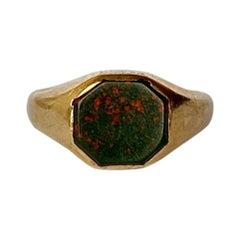 Art Deco 9 Carat Gold Bloodstone Signet Ring