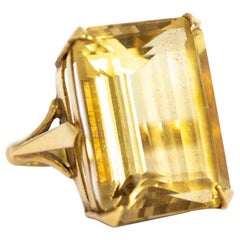 Art Deco 9 Carat Gold Large Citrine Cocktail Ring