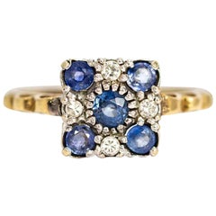 Art Deco 9 Carat Gold Sapphire and Diamond Cluster Ring