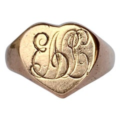Art Deco 9 Carat Rose Gold Heart Signet Ring