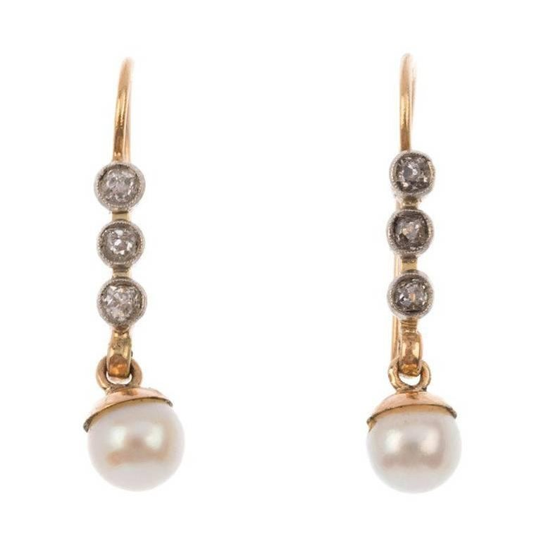 Art Deco 9 Carat Yellow Gold Diamond and Cultured Pearl Drop Earrings