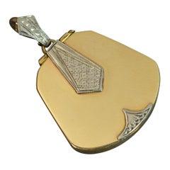 Art Deco 9 Carat Yellow Gold Palladium Locket Pendant