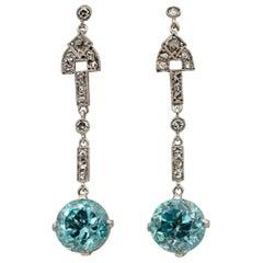 Art Deco 9.00 Carat Natural Blue Zircon and Diamond Platinum Drop Earrings