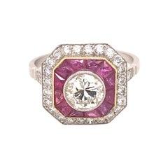 Art Deco .92 Center Diamond Ruby Platinum Ring