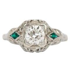 Art Deco .97 VVS GIA Old European Cut Diamond 18 Karat Gold Filigree Engagement
