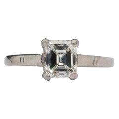 Art Deco .98 G VS2 GIA Emerald Cut Antique Platinum Solitaire Engagement Ring
