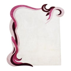 Art Deco Abstract White Pink and Purple Serpentine Edge Rug or Carpet
